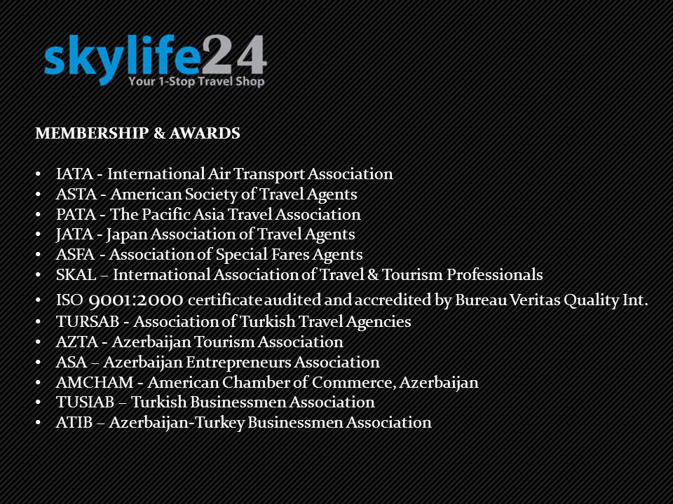 MEMBERSHIP & AWARDS IATA - International Air Transport Association. ASTA - American Society of Travel Agents.