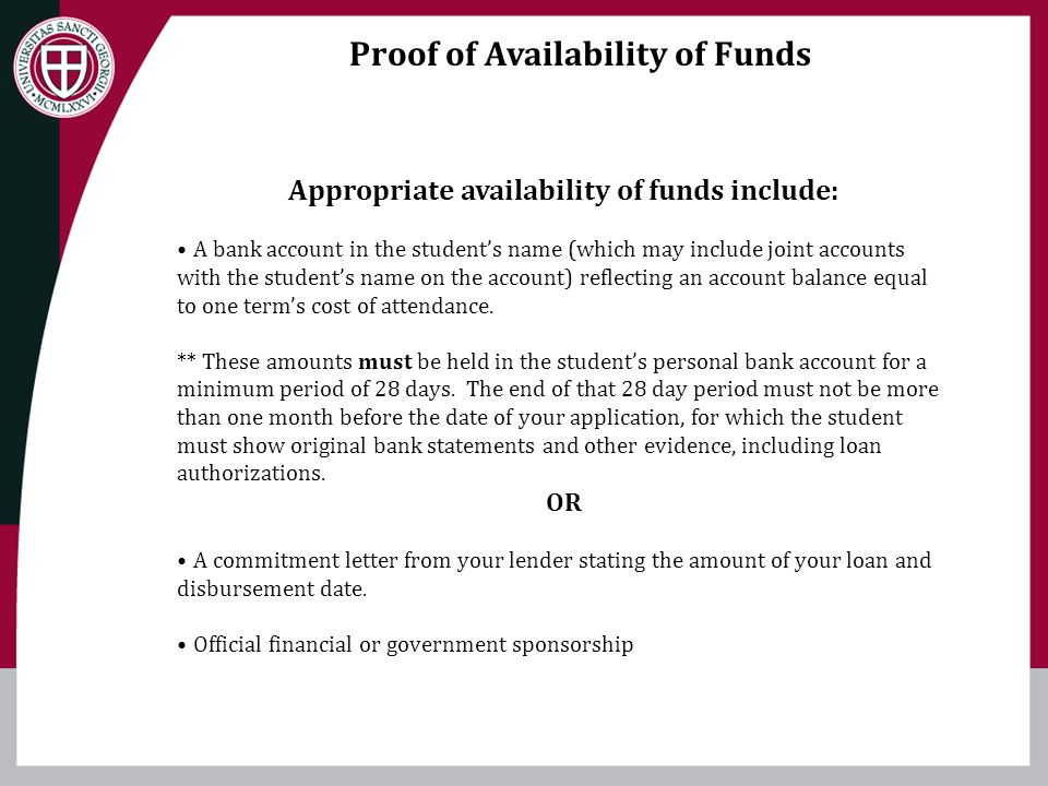 Proof of Availability of Funds