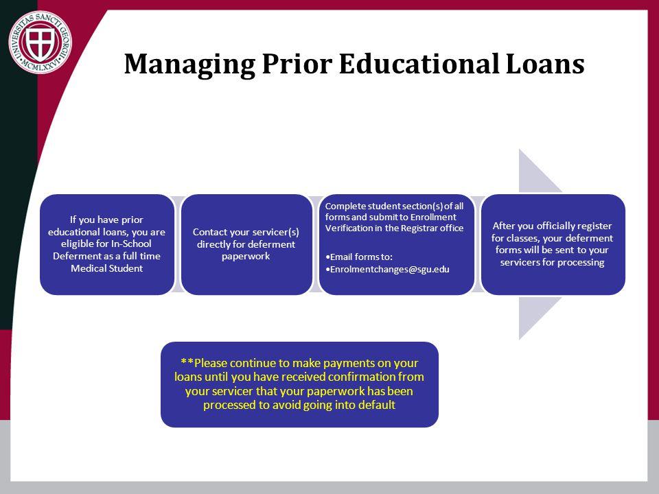 Managing Prior Educational Loans