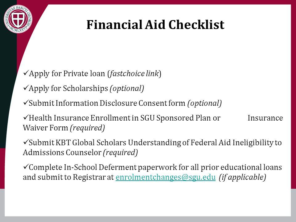 Financial Aid Checklist