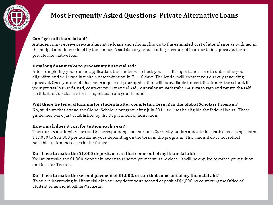 Most Frequently Asked Questions- Private Alternative Loans