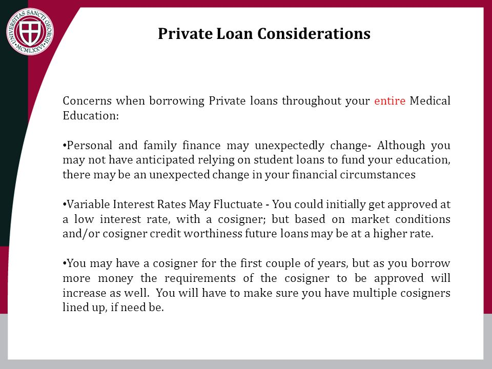 Private Loan Considerations
