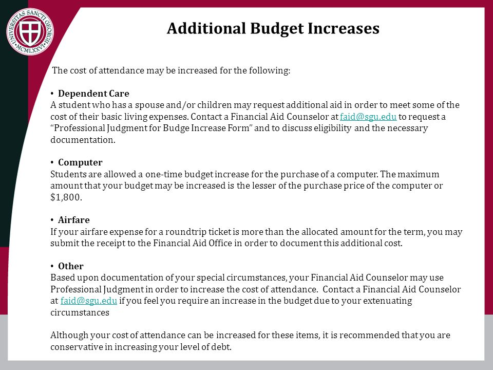 Additional Budget Increases