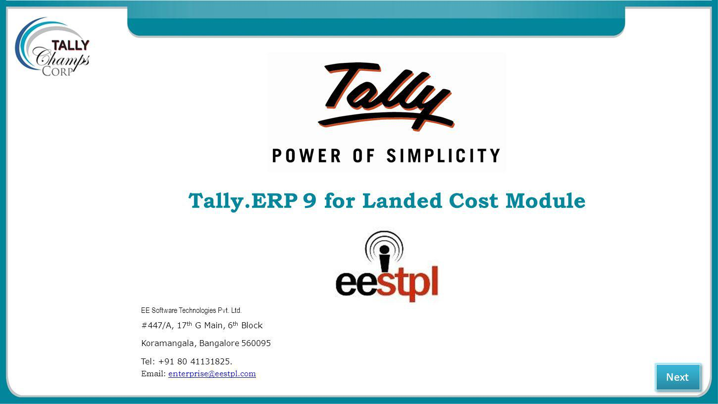 Tally.ERP 9 for Landed Cost Module