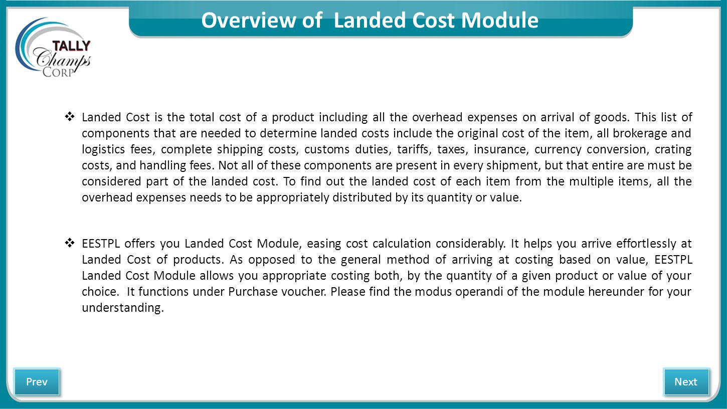 Overview of Landed Cost Module