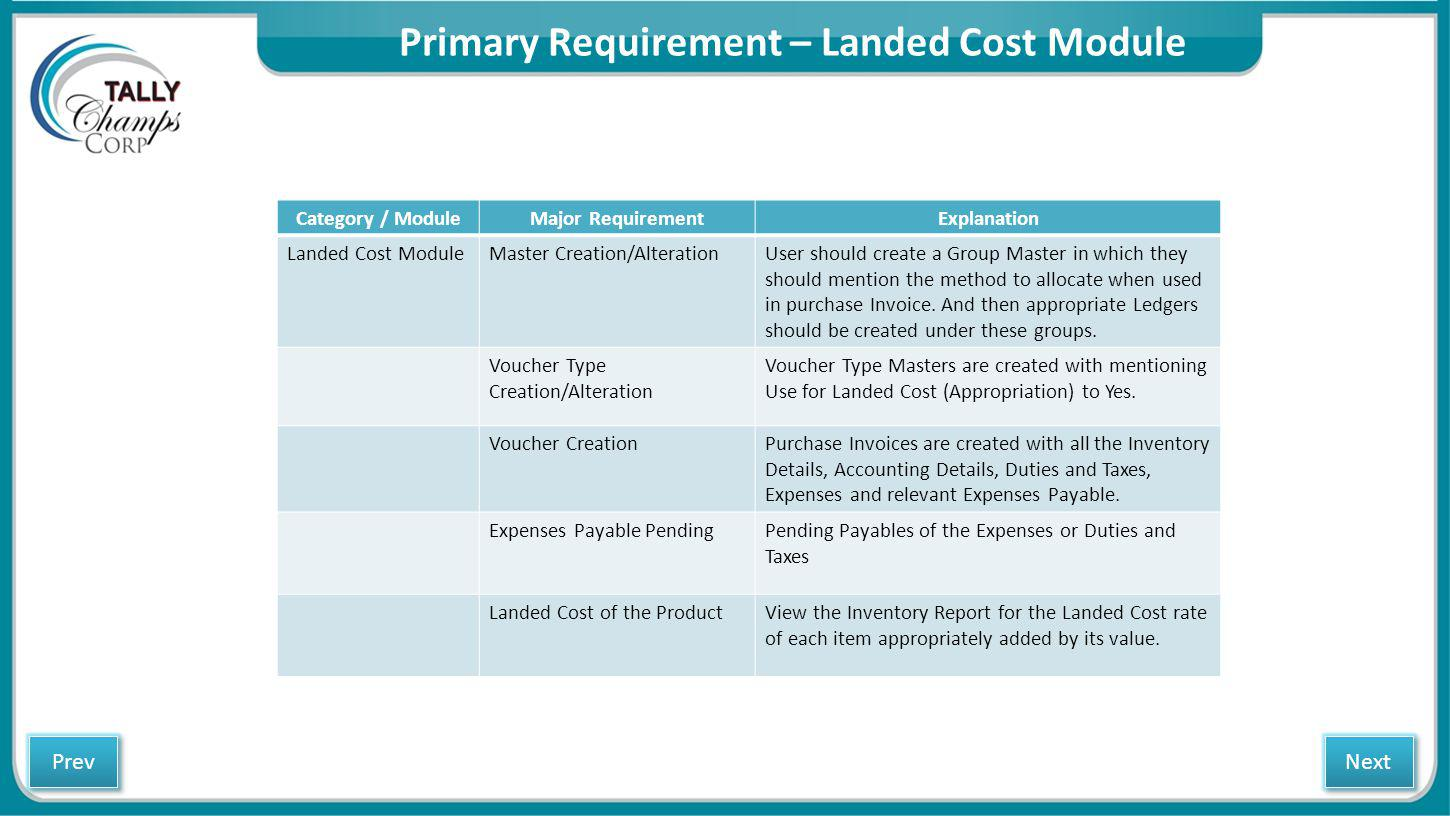 Primary Requirement – Landed Cost Module