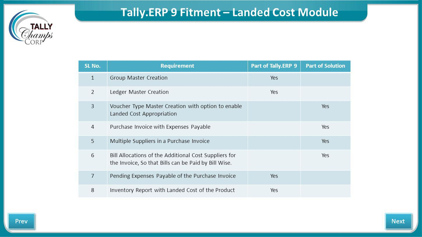 Tally.ERP 9 Fitment – Landed Cost Module