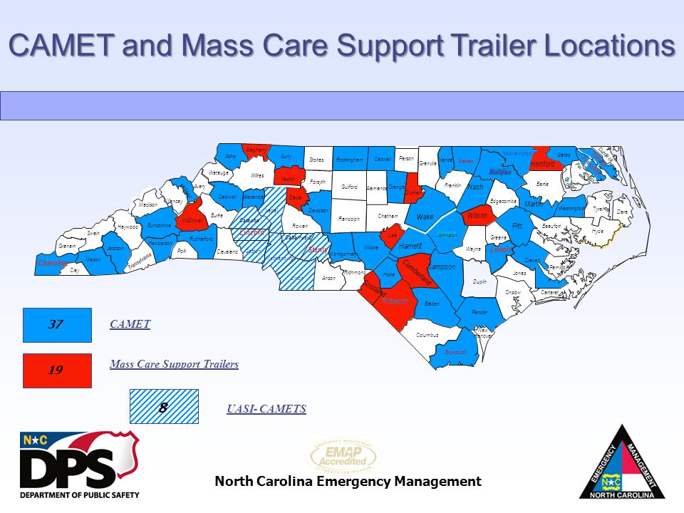 CAMET and Mass Care Support Trailer Locations