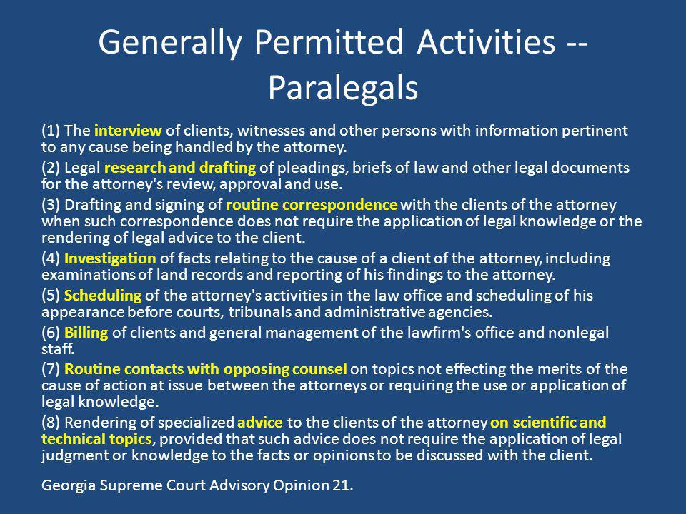 Generally Permitted Activities -- Paralegals
