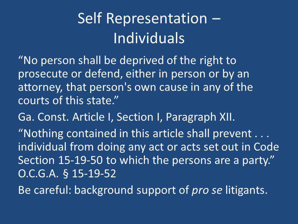 Self Representation – Individuals