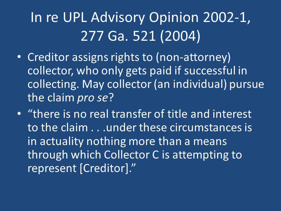 In re UPL Advisory Opinion 2002-1, 277 Ga. 521 (2004)
