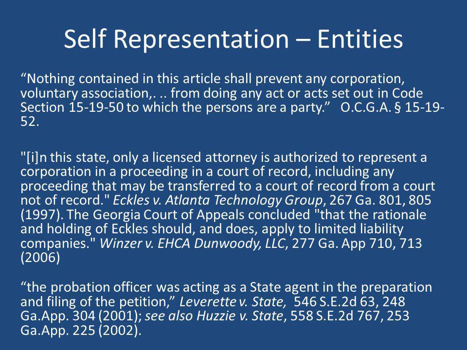 Self Representation – Entities