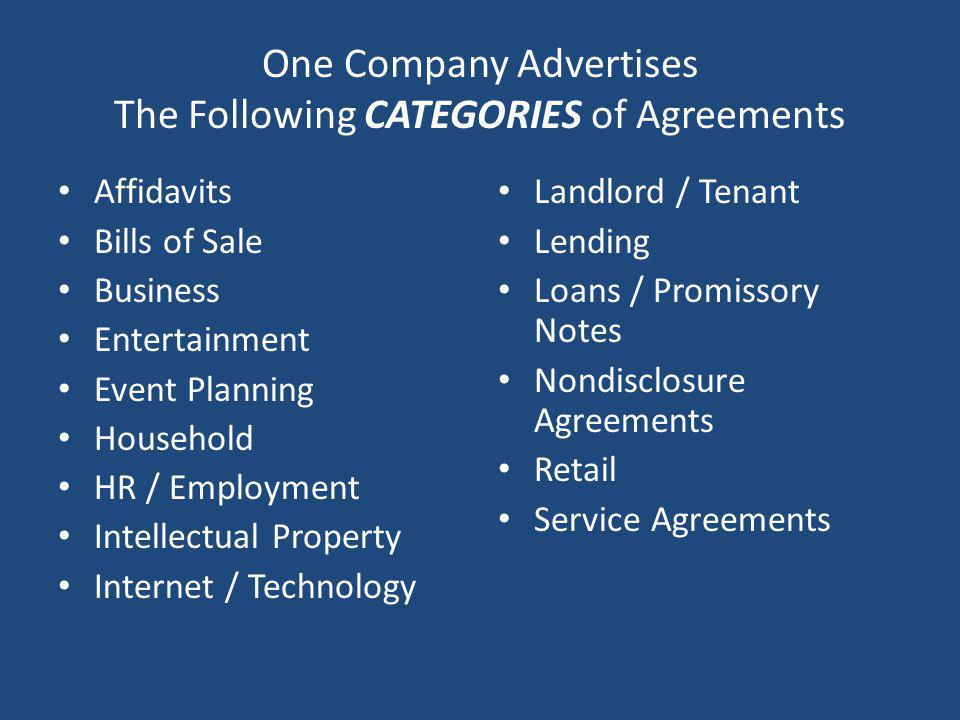 One Company Advertises The Following CATEGORIES of Agreements