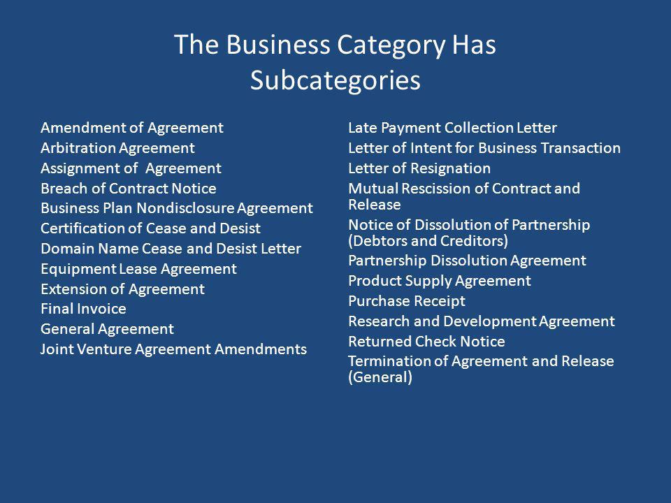 The Business Category Has Subcategories