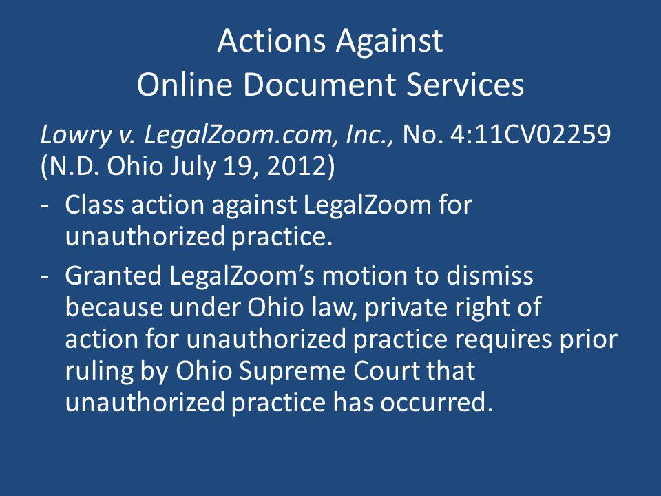Actions Against Online Document Services