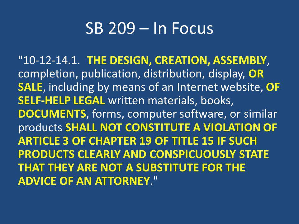 SB 209 – In Focus