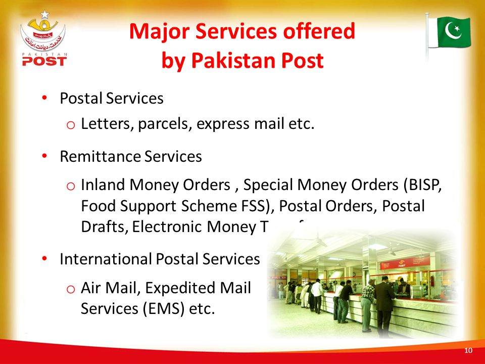 Major Services offered by Pakistan Post