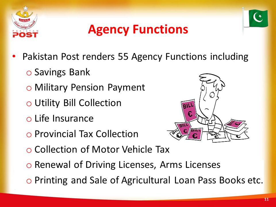 Agency Functions Pakistan Post renders 55 Agency Functions including
