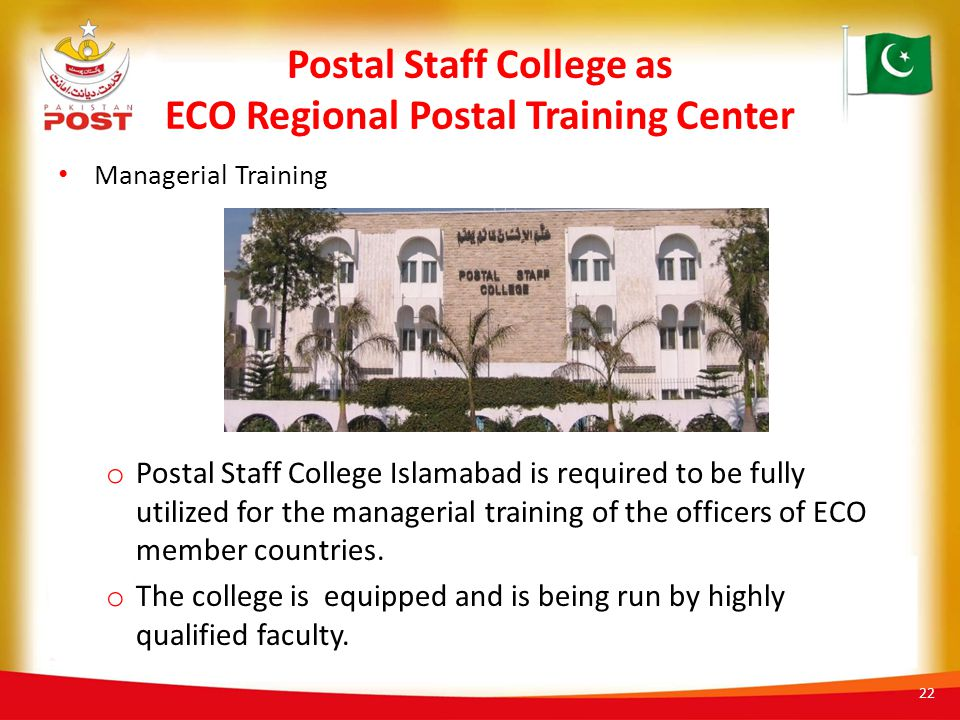 Postal Staff College as ECO Regional Postal Training Center