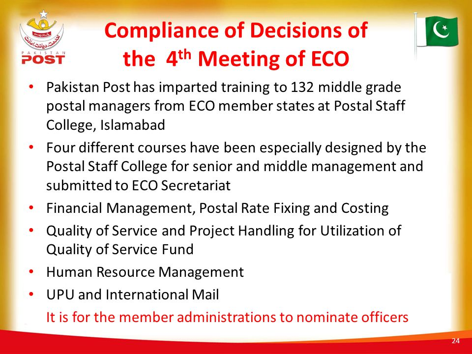 Compliance of Decisions of the 4th Meeting of ECO