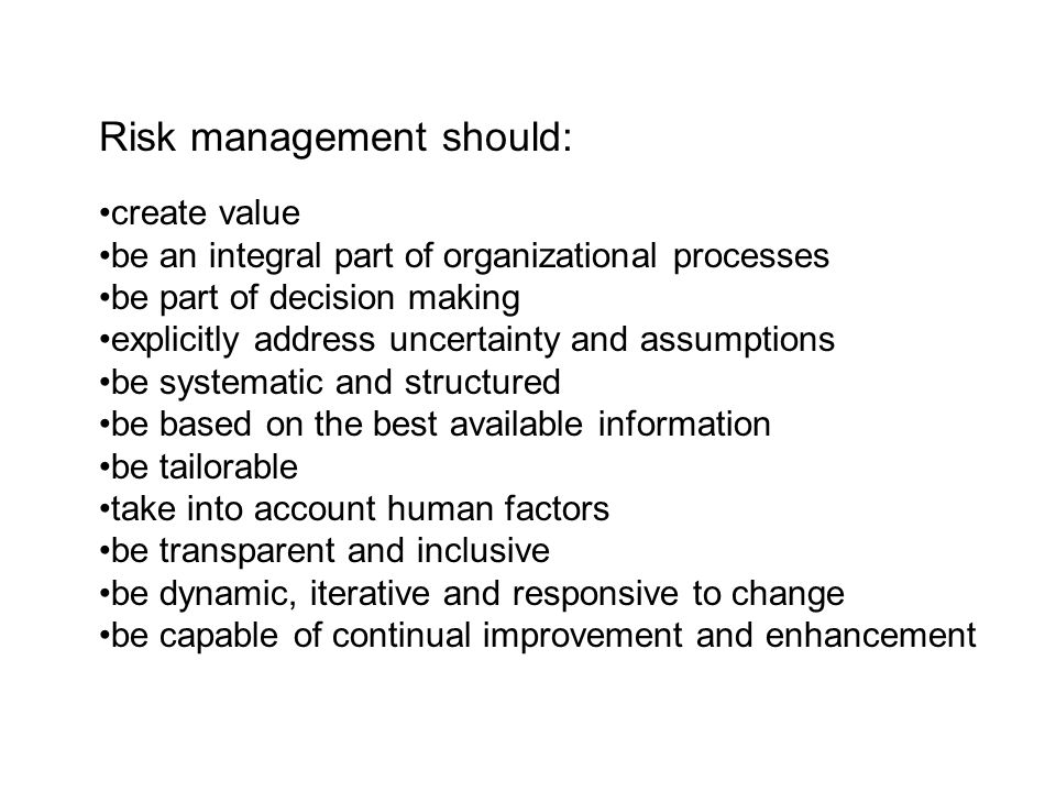 Risk management should: