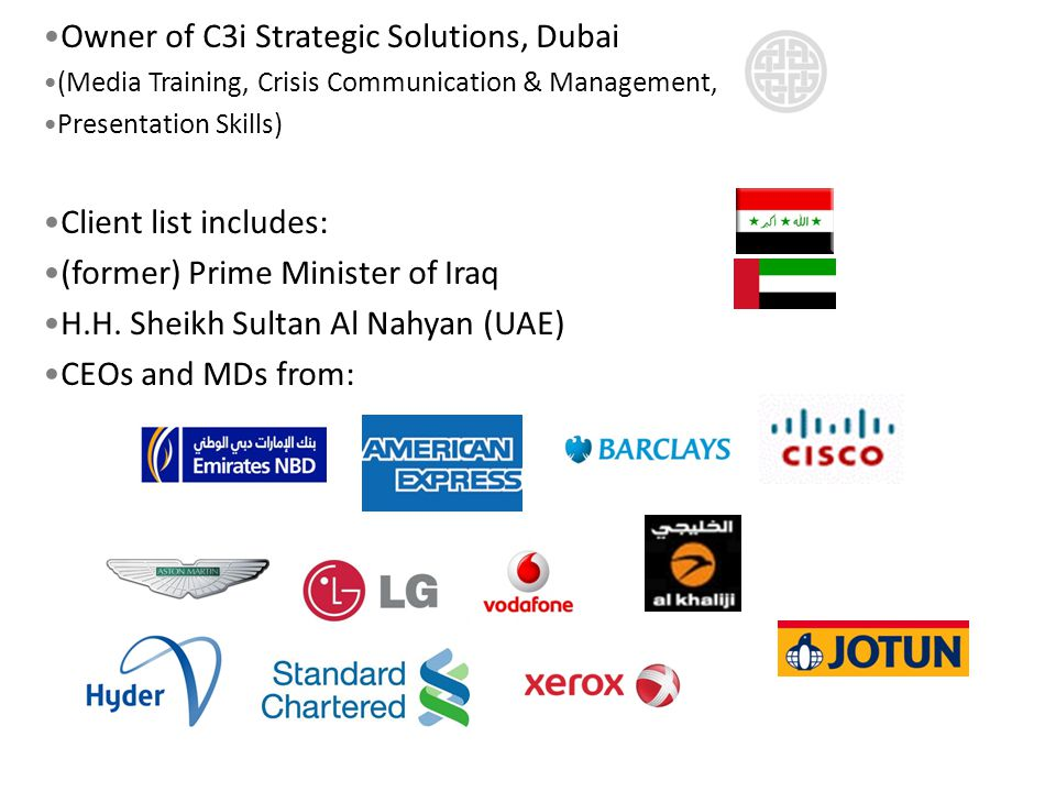 Owner of C3i Strategic Solutions, Dubai