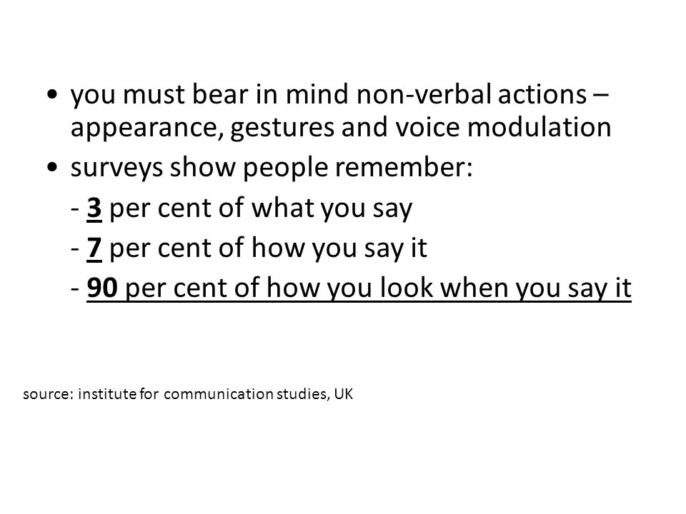surveys show people remember: - 3 per cent of what you say