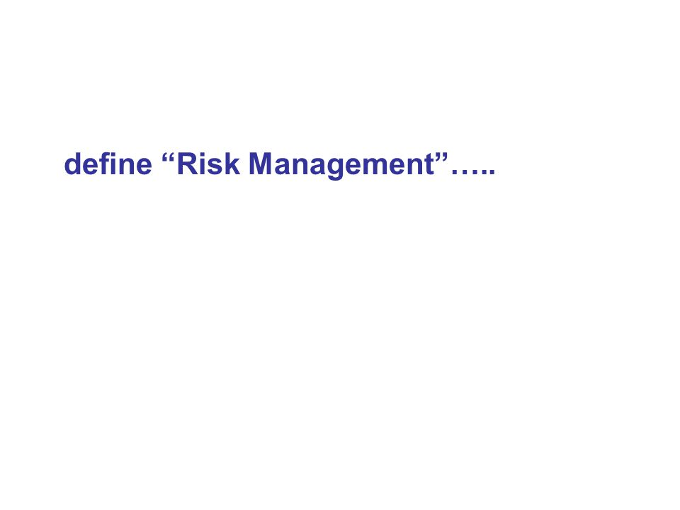 define Risk Management …..