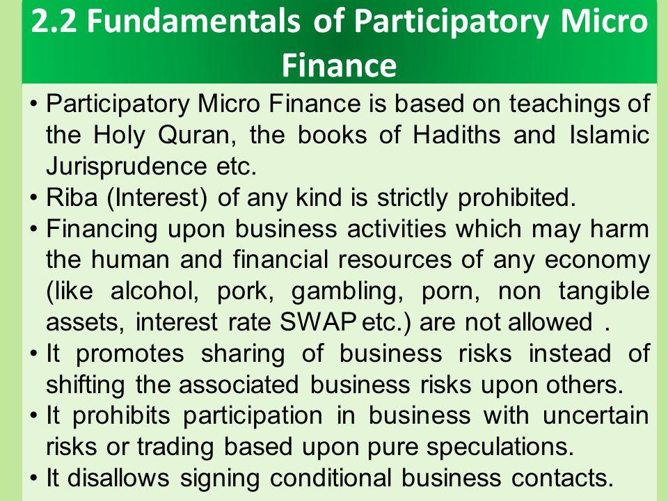2.2 Fundamentals of Participatory Micro Finance