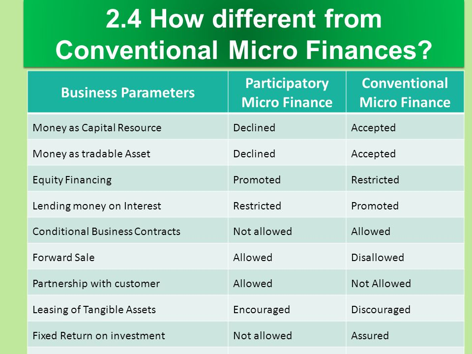 2.4 How different from Conventional Micro Finances