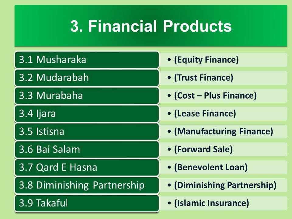 3. Financial Products 3.1 Musharaka 3.2 Mudarabah 3.3 Murabaha