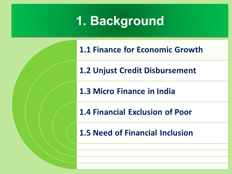 1. Background 1.1 Finance for Economic Growth
