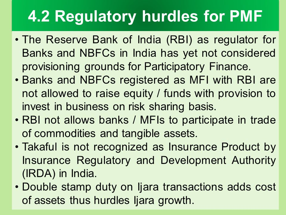 4.2 Regulatory hurdles for PMF
