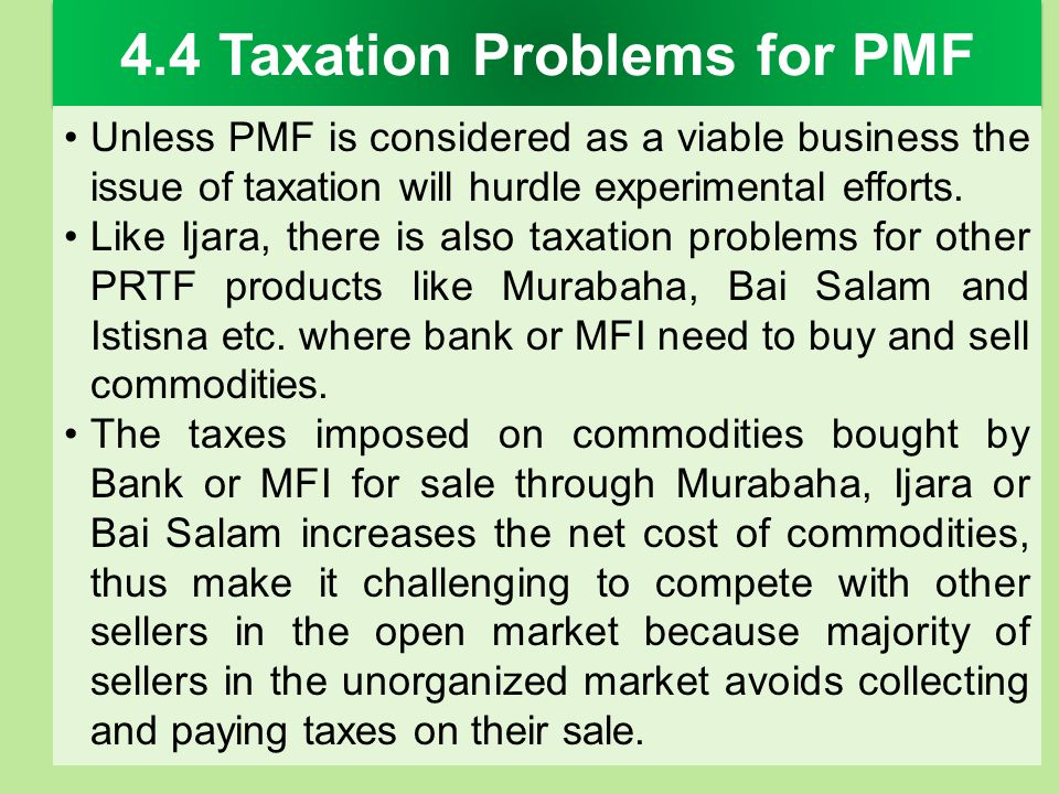 4.4 Taxation Problems for PMF
