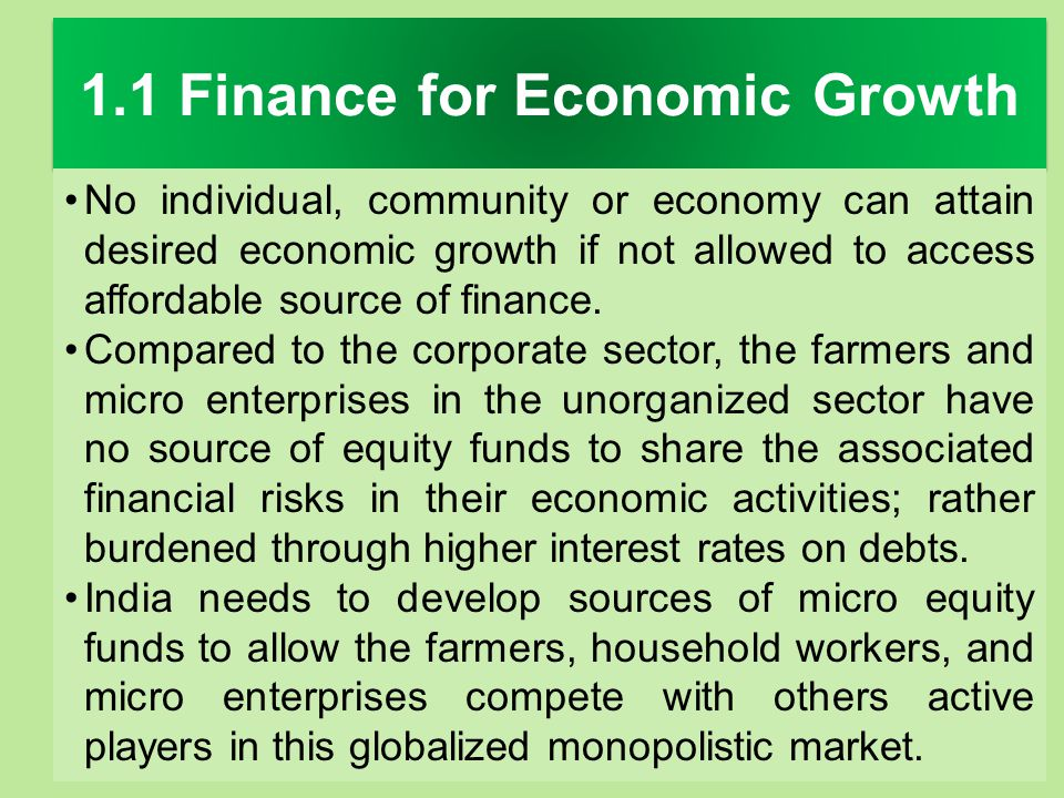 1.1 Finance for Economic Growth