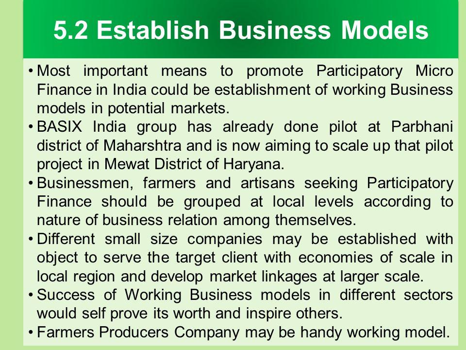 5.2 Establish Business Models