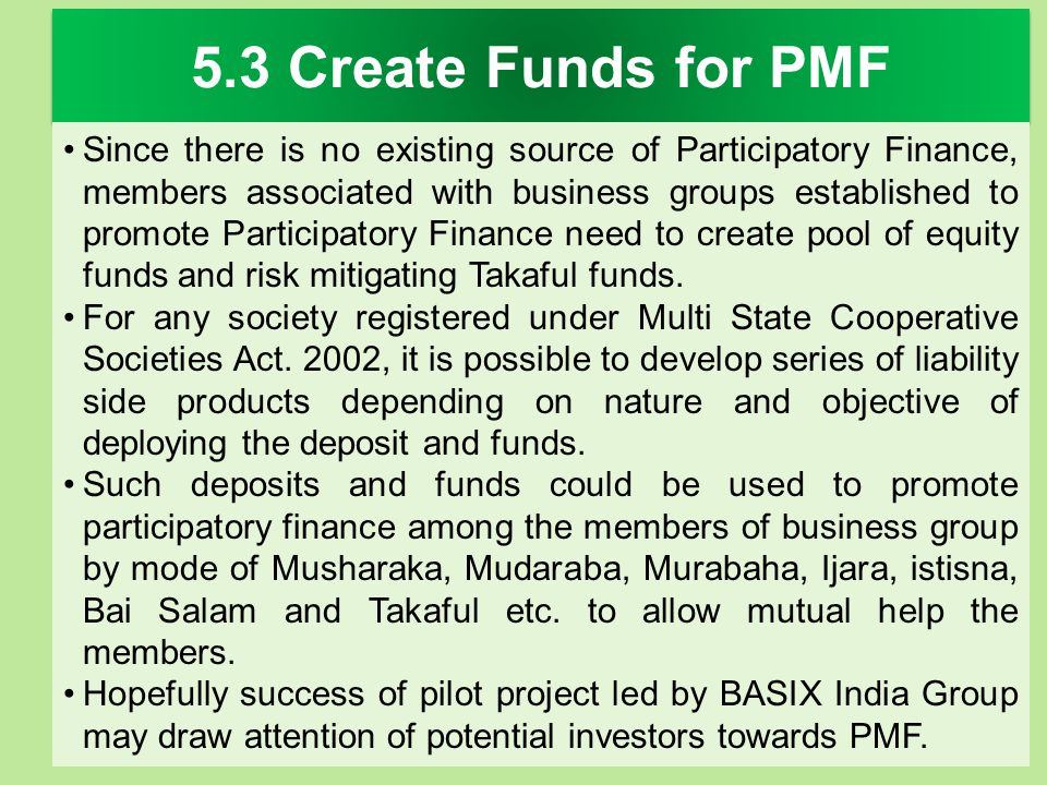 5.3 Create Funds for PMF