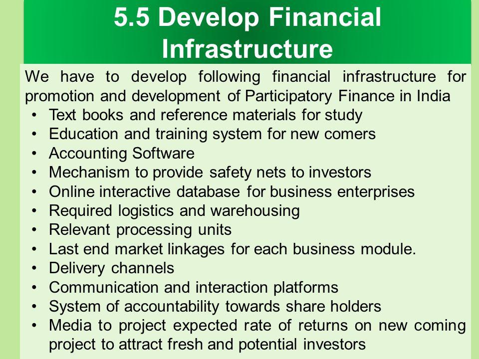5.5 Develop Financial Infrastructure