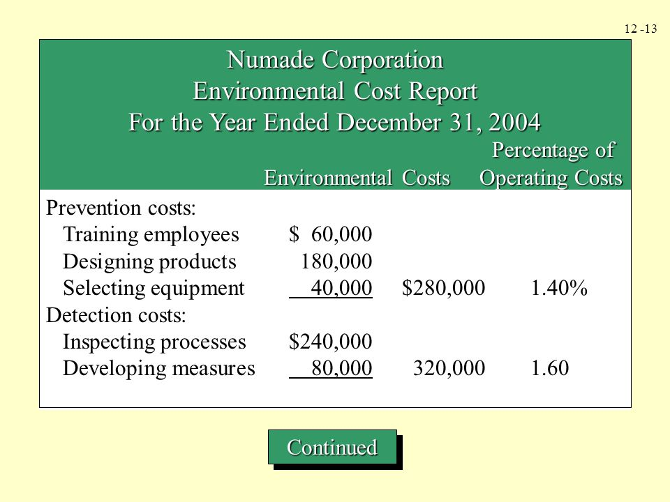 Environmental Cost Report For the Year Ended December 31, 2004