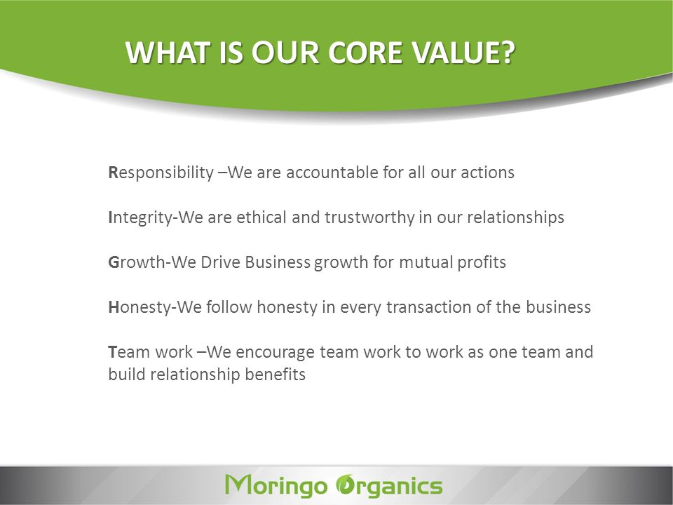 WHAT IS OUR CORE VALUE Responsibility –We are accountable for all our actions. Integrity-We are ethical and trustworthy in our relationships.