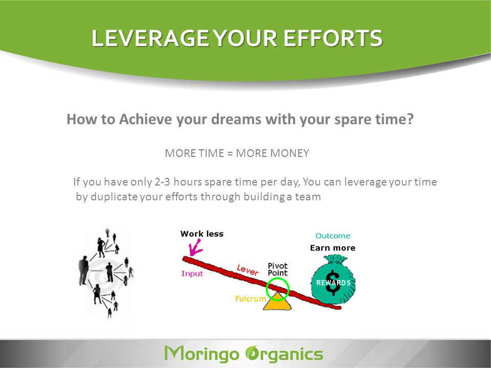 LEVERAGE YOUR EFFORTS How to Achieve your dreams with your spare time