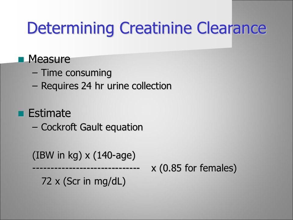 Determining Creatinine Clearance