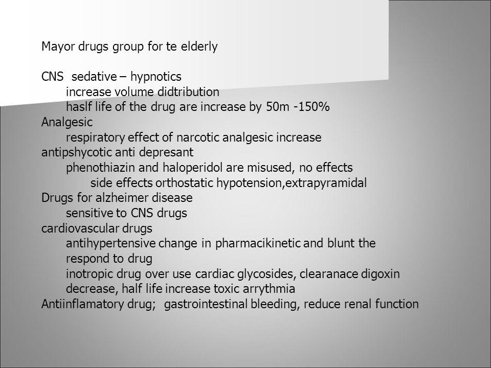 Mayor drugs group for te elderly