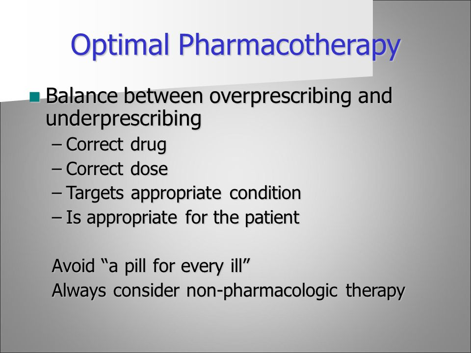 Optimal Pharmacotherapy
