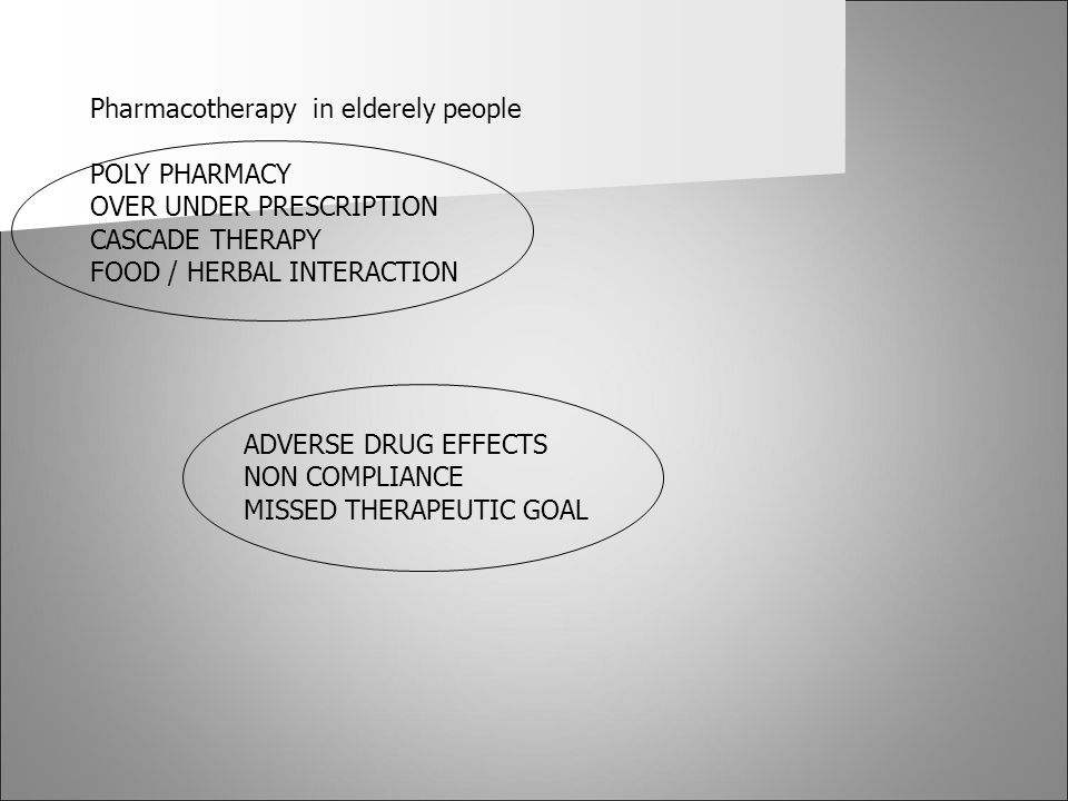 Pharmacotherapy in elderely people
