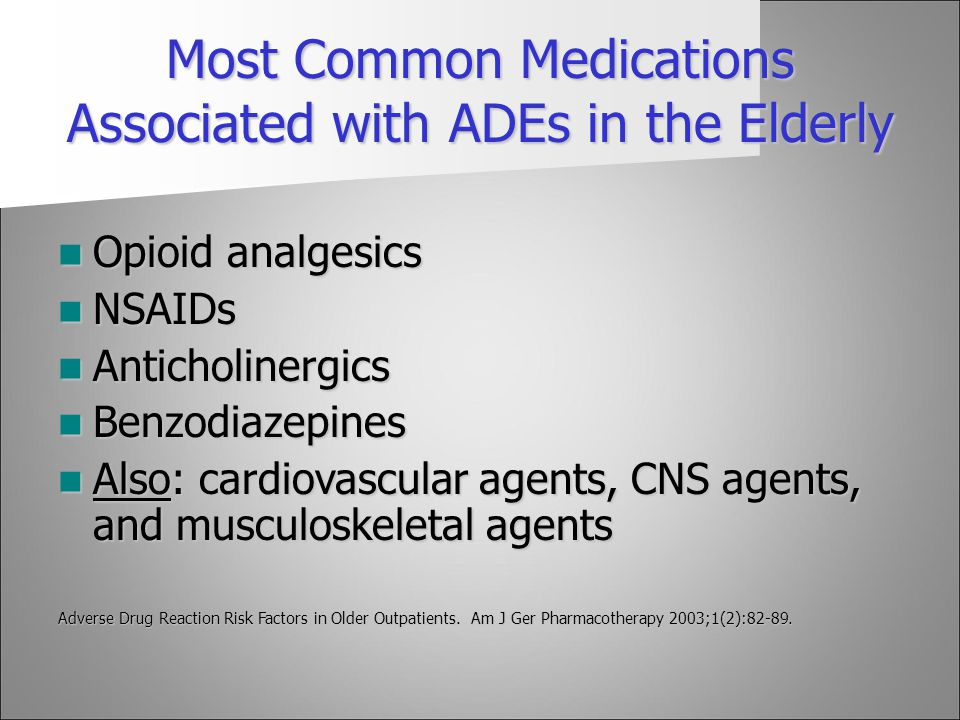 Most Common Medications Associated with ADEs in the Elderly