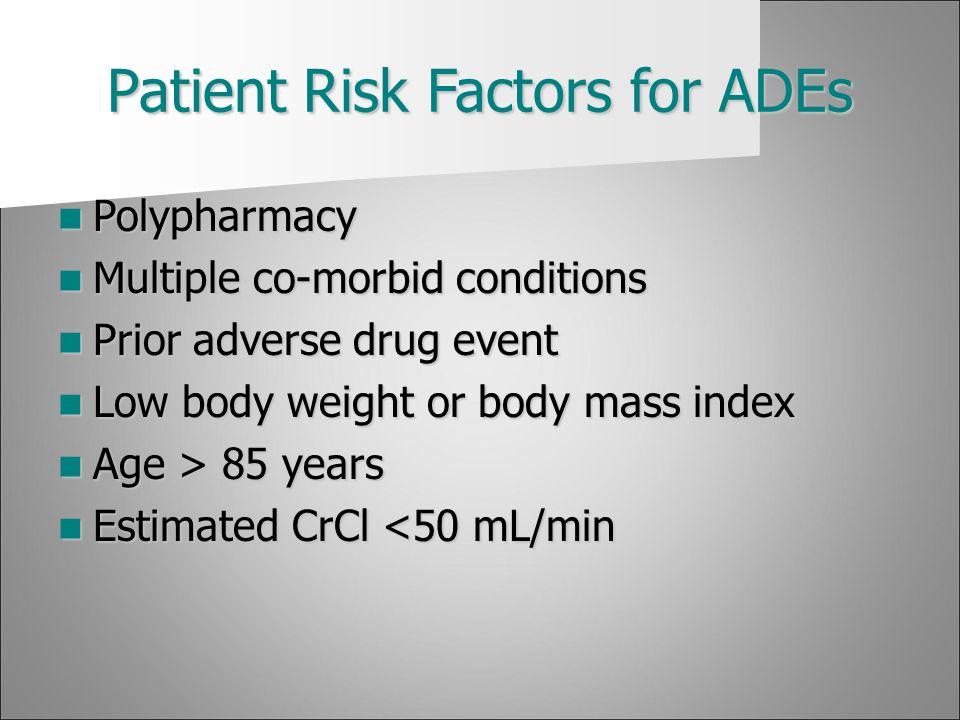 Patient Risk Factors for ADEs