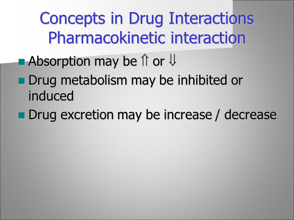 Concepts in Drug Interactions Pharmacokinetic interaction