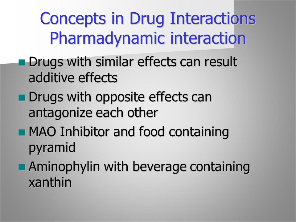 Concepts in Drug Interactions Pharmadynamic interaction