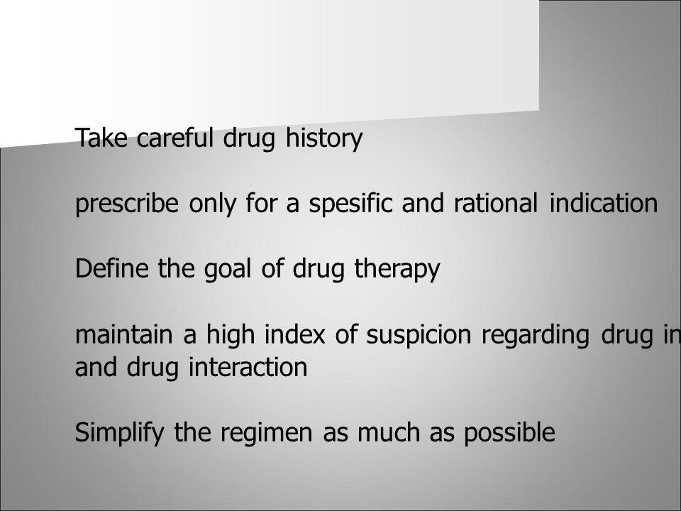 Take careful drug history